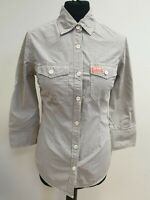EE176 WOMANS SUPERDRY BROWN WHITE TINY CHECK L/SLEEVE COLLAR SHIRT UK S 36""