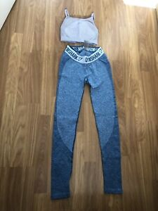 GYMSHARK. SIZE XS (6). LADIES/GIRLS GREY/BLUES, WORKOUT LEGGINGS & TOP SET. VGC