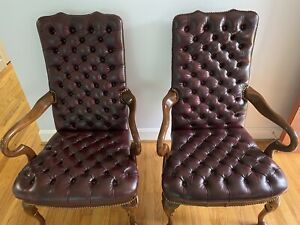 Vintage Leathercraft Inc. Conover, NC (2) Tufted Leather Queen Anne Style Chairs