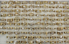 32pcs Fashion Jewelry Wholesale Lots 2 in 1 Gold P Ring Lady's Charm Rings AH543