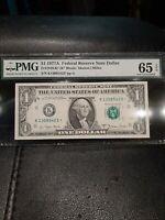 1977A $1star note Dallas Federal Reserve Note PMG 65 EPQ Gem Unc FRN Dollar