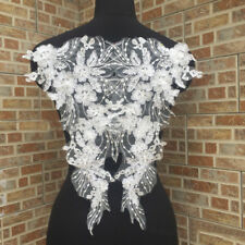 1Pair White Lace Applique Trim Embroidery Sewing Motif Wedding Bridal DIY Crafts