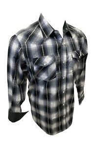 Mens RODEO WESTERN GRAY BLACK PLAID POCKETS Long Sleeve SNAP UP Shirt Cowboy 428