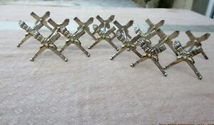 ANTIQUE FRENCH CHRISTOFLE EMPIRE SILVERPLATE XIXth C KNIFE REST HOLDER SET OF 8