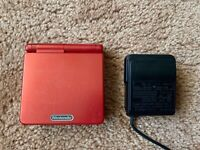 Flame Red Nintendo Game Boy Advance SP AGS-001 Console System & Charger