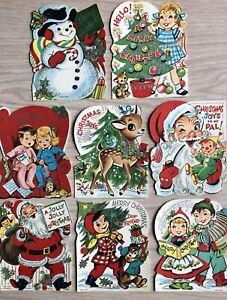 Vintage UNUSED Die Cut Christmas Greeting Cards Lot Santa Deer Cat Dog Angel 50s