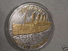 Titanic Ship of Dreams  Silver 6 Troy Oz .999 Fine Round and 24kt Overlay