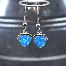 Bezel Set Heart Lab Opal Earrings Sterling Silver 925 , October Birthstone