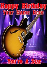 Chitarra semi acustica Sunburst cptmi 21 cartolina di Compleanno A5 personalizzati Saluti