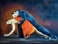 "Tango Dancers Dancing Large Framed Canvas 24""x18"""