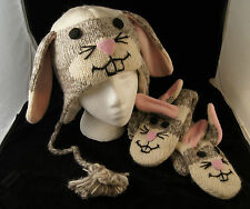 Adult SOCK BUNNY MITTENS knit rabbit Easter delux knitwits brand HAT IS SEPARATE