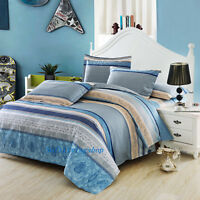 Stripe Blue Single/Double/Queen/King Size Bed Quilt/Doona/Duvet Cover Set Cotton