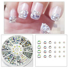 Mixed Nail Art 3D Glitter Rhinestones Diamond Gems Tips DIY Decoration Wheel