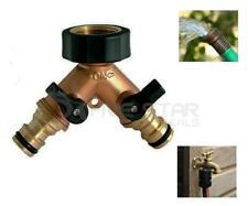 More details for livivo 2 way brass tap adaptor outdoor garden water hose connect fitting spigot
