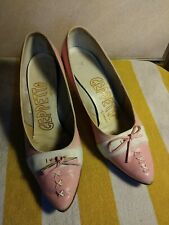 Old Pink Geppetto Ladies Size 7 B Vintage High Heel Shoes Ladys With Bow