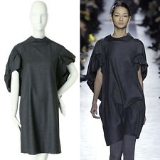 runway YVES SAINT LAURENT PILATI AW08 grey cocoon cashmere dress FR34 S