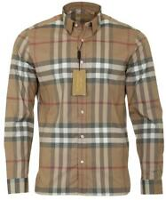 NEW BURBERRY LUXURY 100% COTTON CAMEL CHECK CASUAL BUTTON DOW SHIRT 2XL XXLARGE