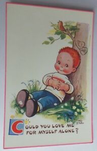 """ORIGINAL MABEL LUCIE ATTWELL POSTCARD No 5936 """"COULD YOU LOVE ME FOR MYSELF!"""""""