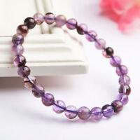 Natural Cacoxenite Purple Phantom Quartz Crystal Round Beads Bracelet 8mm AAA