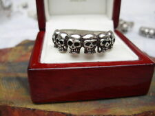 Fully restored solid vintage sterling silver skull band ring, sz 12