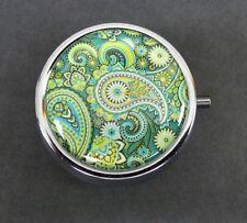 Decorative Pill Box Paisley Print Metal Round Cute Pill Organizer with Mirror 3