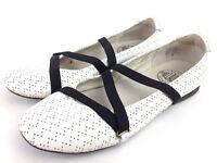 euc Palladium Womens US 7 White Perforated Patent Leather Mary Jane Ballet Flats