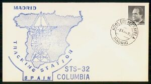 Mayfairstamps SPAIN SPACE 1990 COVER MADRID STS 32 COLUMBIA TRACKING STATION wwi