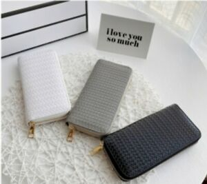 Ladies Wallet Purse Imitating braided pattern card holder wallets with zipper
