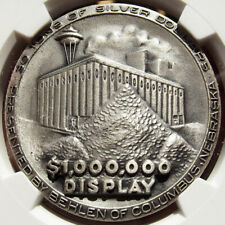 1962 Seattle World's Fair Million $ Dollar Display Silver Medal, MS68 NGC, Token