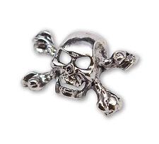 Gothic Skull & Crossbones Jacket or Hat Pin Polished Silver Finish Pewter P-68