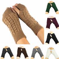 Women Winter Warm Knitted Gloves Wrist Arm Hand Warmer Fingerless Gloves Mitten