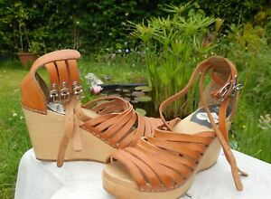 H & M Swedish Hasbeens Leather & Wood Wedge Sandals Size 5 (38)