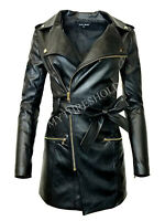 Women's Zip-up Long Jacket Belt Real Leather Trench Coat