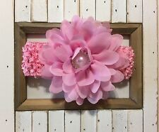 Pink Chiffon Flower Crochet Newborn/Baby / Toddler/Girl Headband