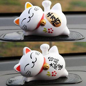 Car Décor Cat Solar Power Maneki Neko Lucky Beckoning Arm Fortune Toy Gift Home