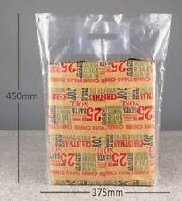 """100 x clear carrier bags 15""""x18""""x3"""" reinforced handles 120 gauge"""
