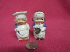 Vintage Small Happy Chef Baker Salt and Pepper Shakers Ceramic 76
