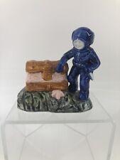 """Vintage Ceramic Aquarium Scuba Diver Knife Treasure Chest Aerator Japan 4'X4"""""""