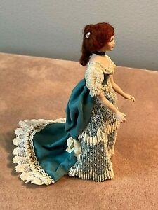 Vintage 1990s Porcelain Victorian Lady with Bustle Artisan Doll Miniature 1:12