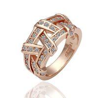 New 18K Rose Gold GP Solid Wedding Engagement Ring SWAROVSKI Crystal Size 10