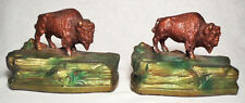 Very Nice Polychrome Gray Metal Grazing Buffalo Antique Bookends by K&O ~1930