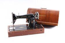 schöne alte Nähmaschine Tischnähmaschine SINGER mit Holzkoffer old vintage