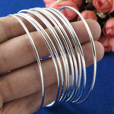 10pcs/Set 925Silver Sterling Charm Bracelet Cuff Bangle Chain Women Men Gift #ty