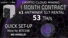 1 Month CLOUD MINING Contract Antminer Rental S17 Lease BITCOIN Hashing 56+ TH/s