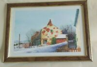 An Original Watercolor Painting old Yorkshire farm in winter,exhibited artist,