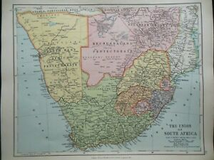 Original Antique Map of The Union of South Africa (c1920) Edward Stanford