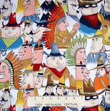 Pow-Wow Fabric - Western Cowboy Indians on White - Alexander Henry YARD