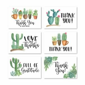 24 Succulent Cactus Thank You Note Cards With Envelopes, Great For Adult...