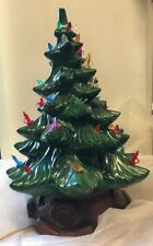 "Vintage 16"" Ceramic Christmas Tree With Base Lights Birds Candles"