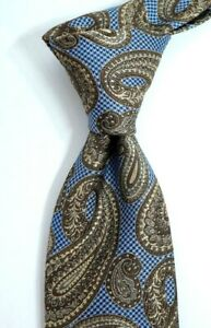 $79 NWT Nordstrom Houndstooth Blue and Gold Paisley Silk Neck Tie ITALY